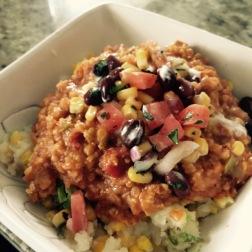 Veggie Jambalaya with black bean salsa