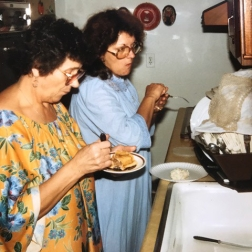 My grama and my mom in my grams kitchen in Dearborn Hts. MI