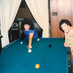 The infamous pool table that my grama would fill with food every holiday!